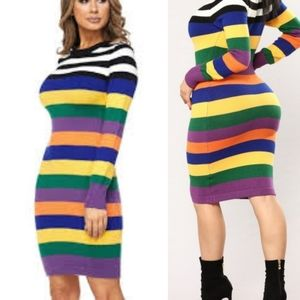 Hot and Delicious striped sweater dress
